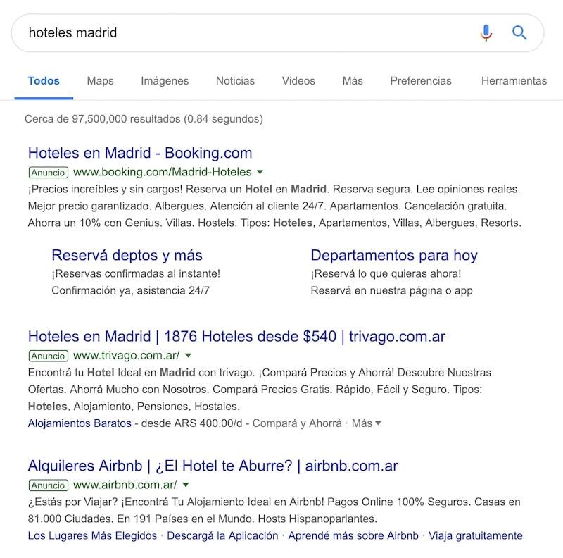 hoteles en madrid - serp adwords